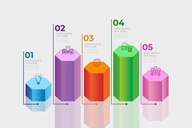Conceito de infográfico de barras 3d