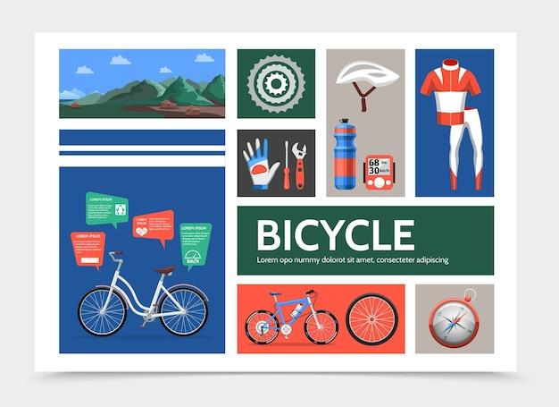 Conceito de infográfico de bicicleta plana