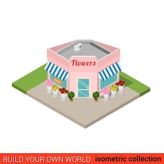 Conceito de infográfico de bloco de construção plana isométrica de floricultura ponto de venda de flores de esquina crie sua própria coleção mundial de infográficos