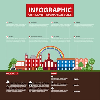 Conceito de infográfico de cidade de viagens planas