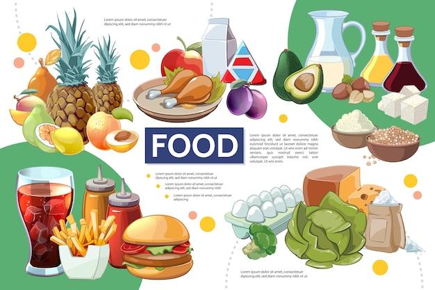 Conceito de infográfico de comida de desenho animado