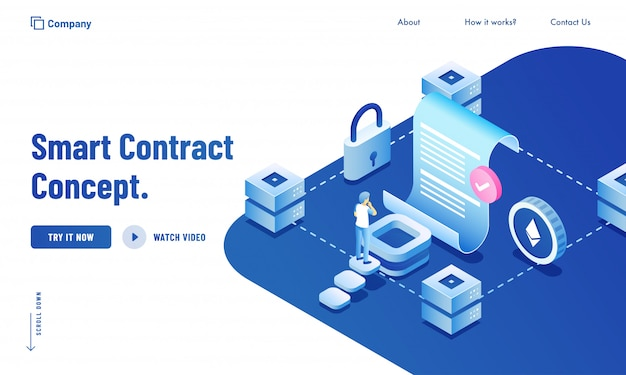 Conceito de infográfico de contrato inteligente