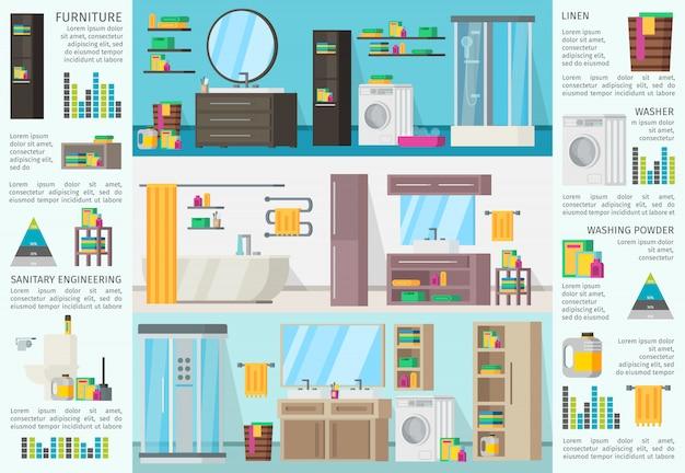 Conceito de infográfico de design de interiores de banheiros