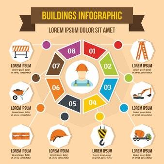 Conceito de infográfico de edifícios, estilo simples