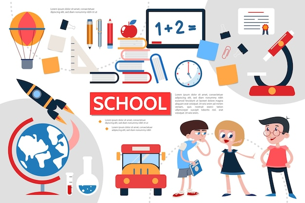 Conceito de infográfico de escola plana Vetor Premium