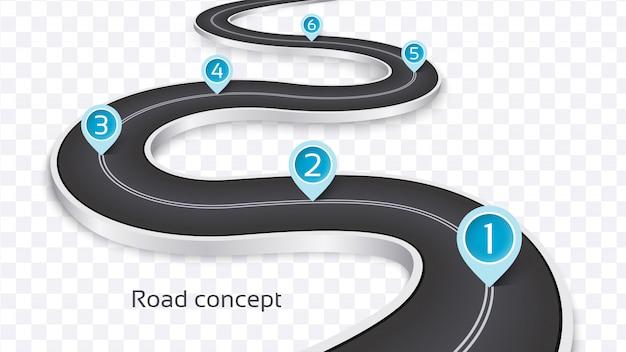 Conceito de infográfico de estrada sinuosa 3d