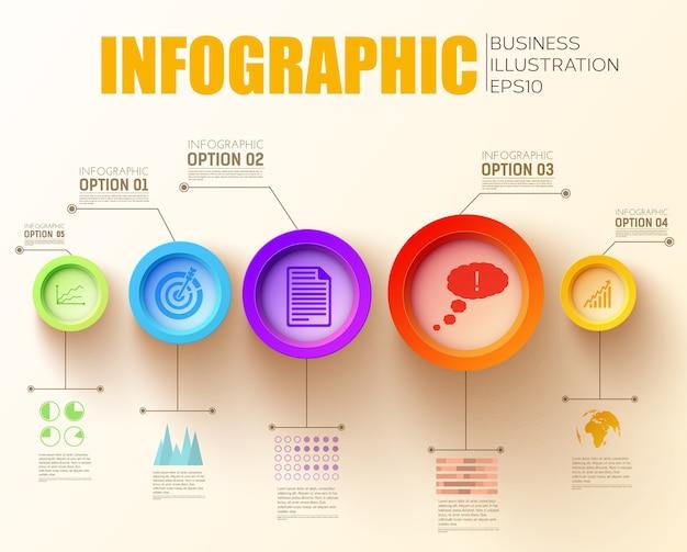 Conceito de infográfico de etapa de negócios com texto cinco círculos e ícones coloridos