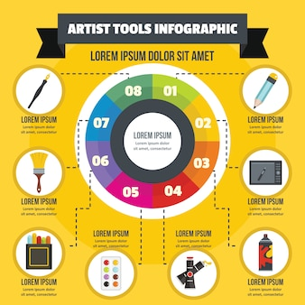 Conceito de infográfico de ferramenta de artista, estilo simples