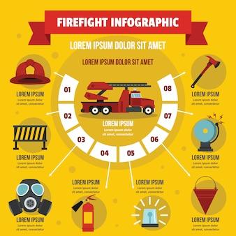 Conceito de infográfico de firefight, estilo simples