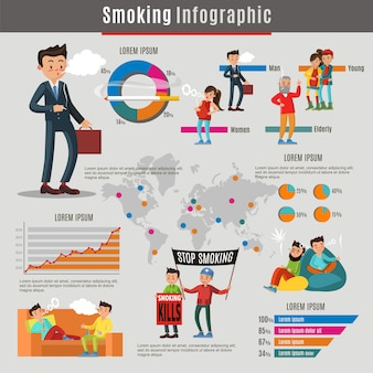 Conceito de infográfico de fumar colorido