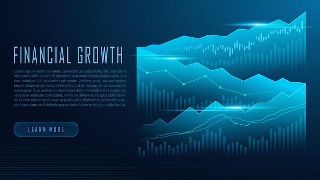 Conceito de infográfico de gráfico de mercado de ações ou forex