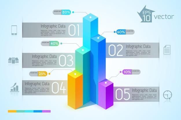 Conceito de infográfico de gráfico de negócios abstrato