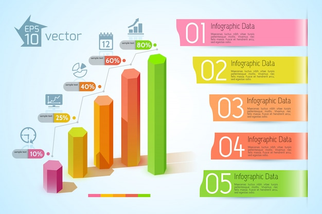 Conceito de infográfico de gráficos de negócios com colunas hexagonais 3d coloridas, cinco faixas de fita de texto e ilustração de ícones