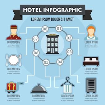 Conceito de infográfico de hotel, estilo simples
