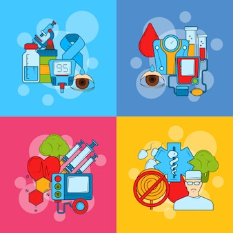Conceito de infográfico de ícones coloridos de diabetes