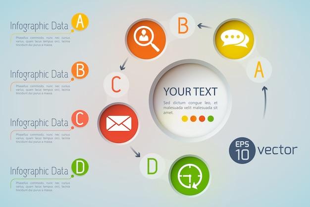Conceito de infográfico de ícones de dados