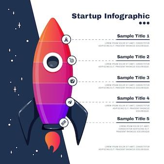Conceito de infográfico de inicialização plana