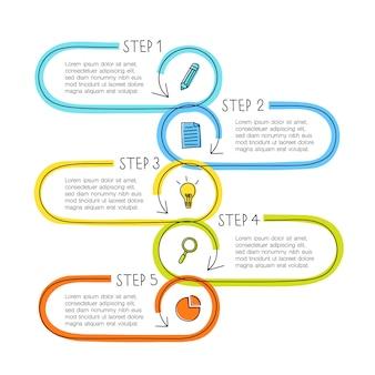 Conceito de infográfico de linha com cinco etapas, caixas de texto podem ser usadas para linha do tempo, fluxo de trabalho, negócios ou educação