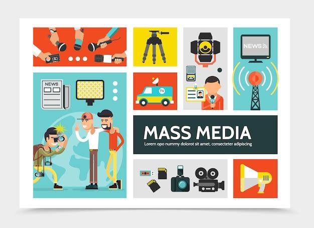 Conceito de infográfico de mídia de massa plana com jornal de câmeras de megafone de torre de rádio de carro de notícias
