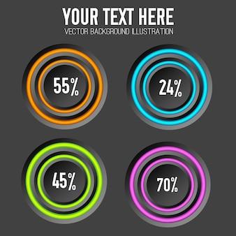 Conceito de infográfico de negócios com anéis coloridos de quatro botões redondos e porcentagem