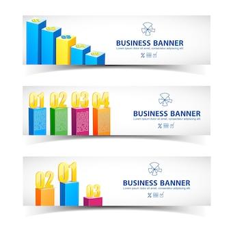 Conceito de infográfico de negócios com banners horizontais