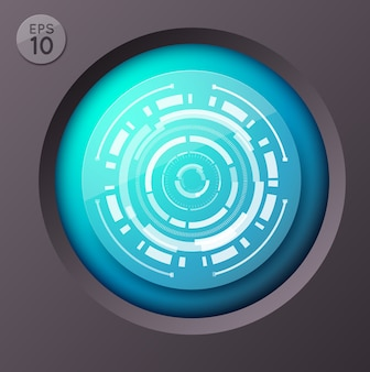 Conceito de infográfico de negócios com botão redondo e imagem futurista de círculo com ilustração de linhas circunflexas de interface de toque