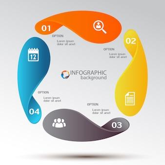 Conceito de infográfico de negócios com elementos gráficos coloridos quatro opções e ícones