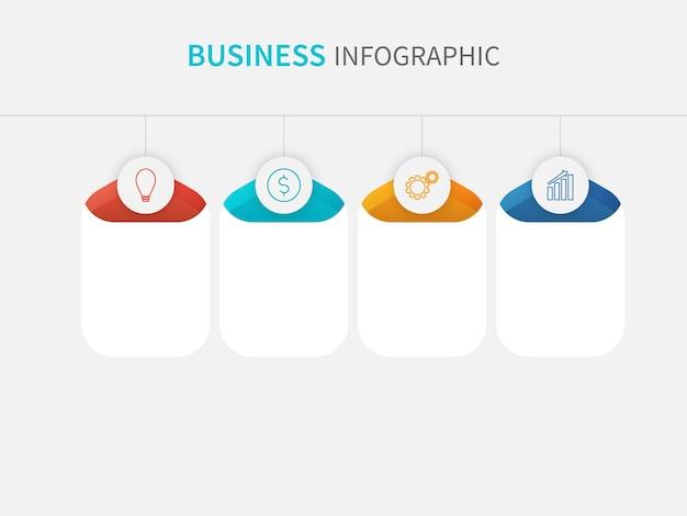 Conceito de infográfico de negócios com espaço de quatro etapas para texto ou mensagem em fundo branco.