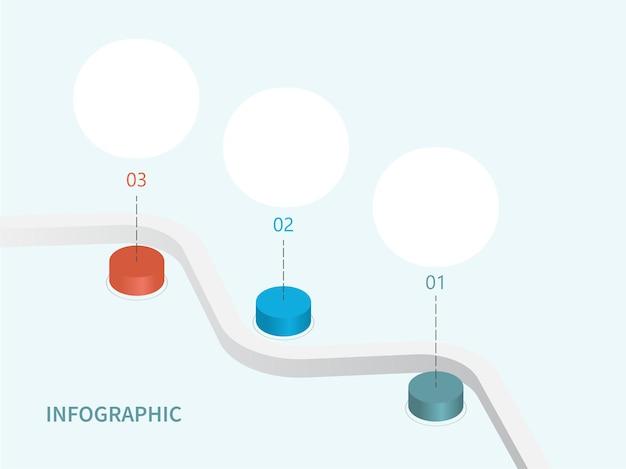 Conceito de infográfico de negócios com estrada sinuosa ou linha e três opções 3d.