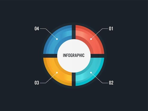 Conceito de infográfico de negócios com gráfico de pizza colorido e quatro opções em fundo preto.
