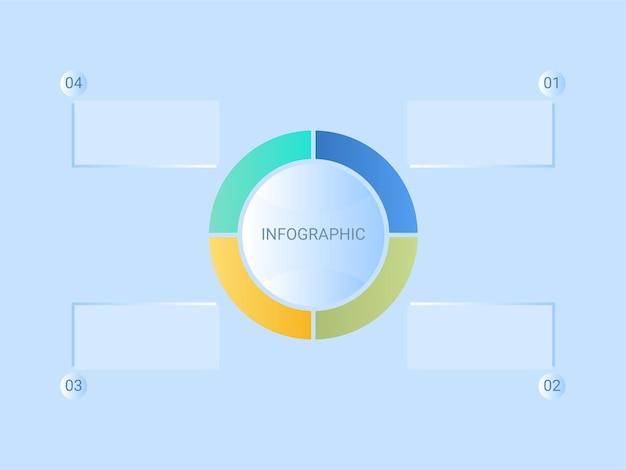 Conceito de infográfico de negócios com gráfico de pizza colorido em quatro opções sobre fundo azul.
