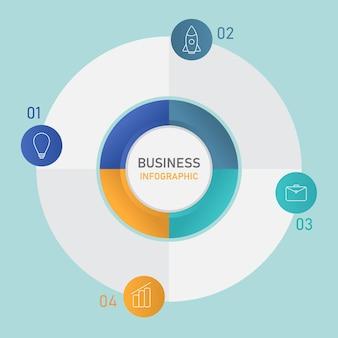 Conceito de infográfico de negócios com gráfico de pizza em quatro opções.