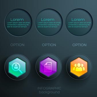 Conceito de infográfico de negócios com ícones coloridos, botões hexagonais brilhantes e olheiras