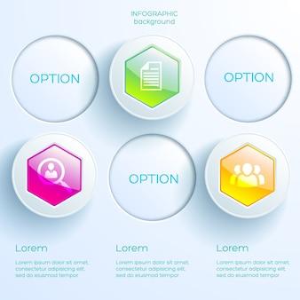 Conceito de infográfico de negócios com ícones, três opções, hexágonos brilhantes coloridos e círculos de luz