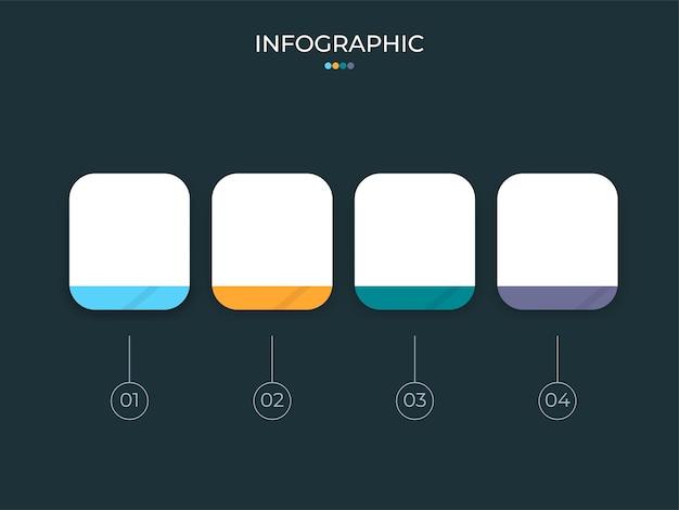 Conceito de infográfico de negócios com quatro opções e espaço de cópia no fundo verde-azulado.