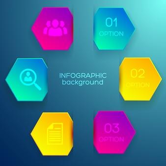 Conceito de infográfico de negócios com três opções de hexágonos e ícones coloridos