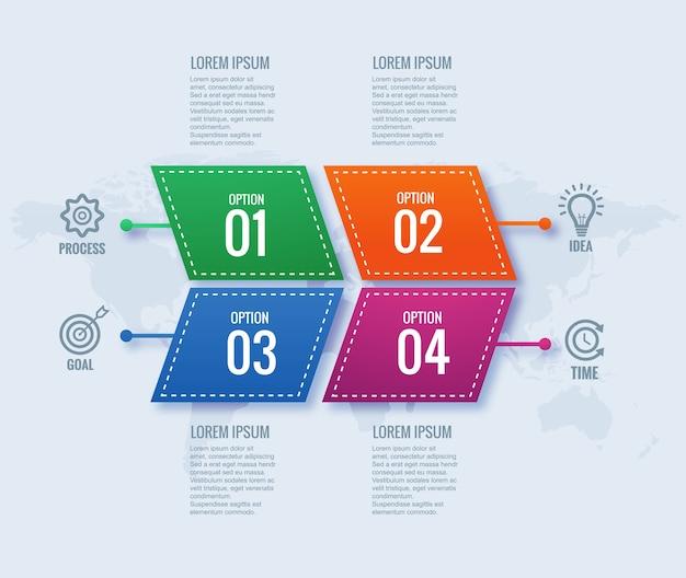 Conceito de infográfico de negócios modernos com design de banner de 4 etapas