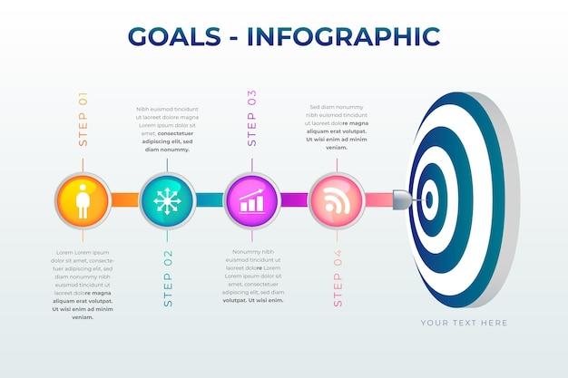 Conceito de infográfico de objetivos