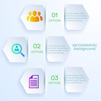 Conceito de infográfico de opções de negócios com marcadores hexagonais