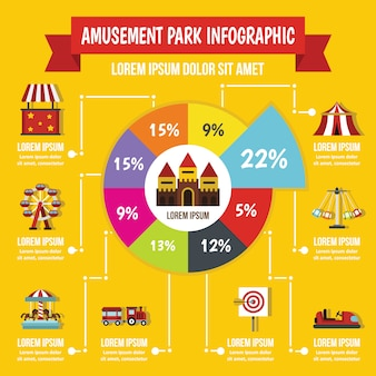 Conceito de infográfico de parque de diversões, estilo simples