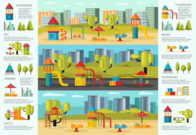 Conceito de infográfico de playground colorido