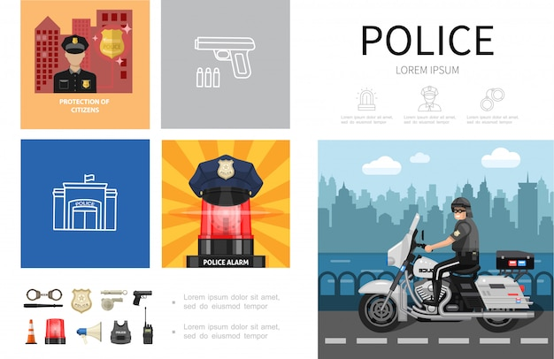 Conceito de infográfico de polícia plana com policial pilotando chapéu de motocicleta na sirene, algemas, bastão, xerife, distintivo, arma, megafone, capacete, conjunto de rádio, ícones