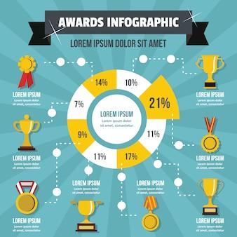 Conceito de infográfico de prêmios.