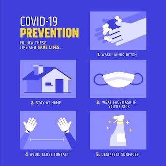 Conceito de infográfico de prevenção de coronavírus