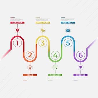 Conceito de infográfico de processo gradiente