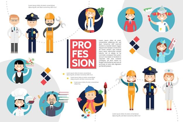 Conceito de infográfico de profissões planas