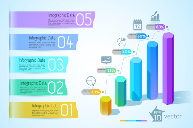 Conceito de infográfico gráfico de negócios com colunas hexagonais 3d coloridas, cinco opções de banners de texto e ilustração de ícones