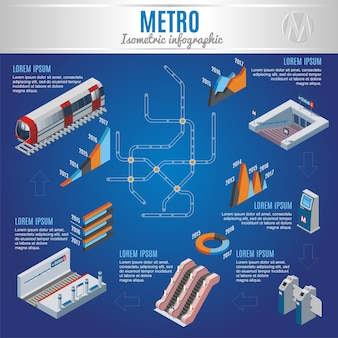 Conceito de infográfico metropolitano isométrico