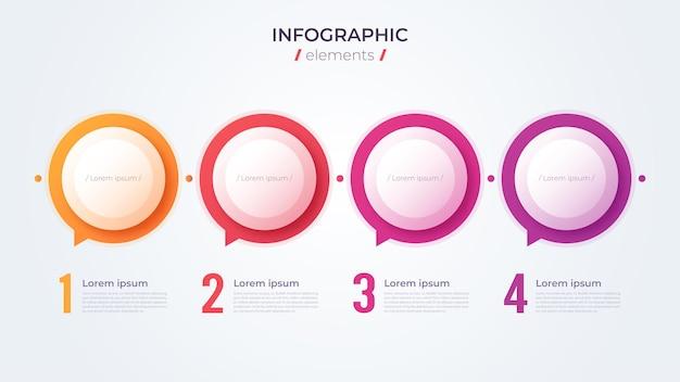Conceito de infográfico minimalista com 4 opções. modelo de vetor
