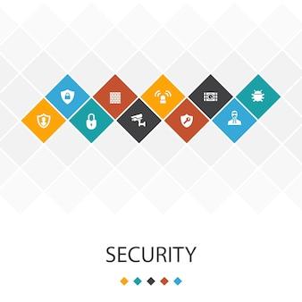 Conceito de infográficos do modelo de interface do usuário na moda de segurança. proteção, câmera de segurança, chave, ícones de bomba